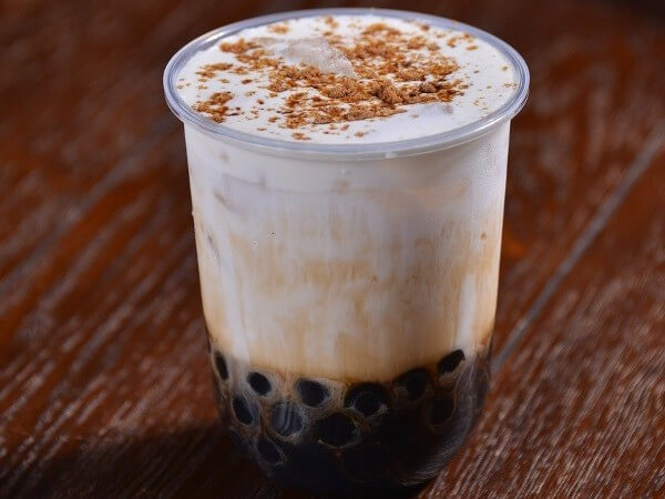boba drink with milk and tapioca pearls